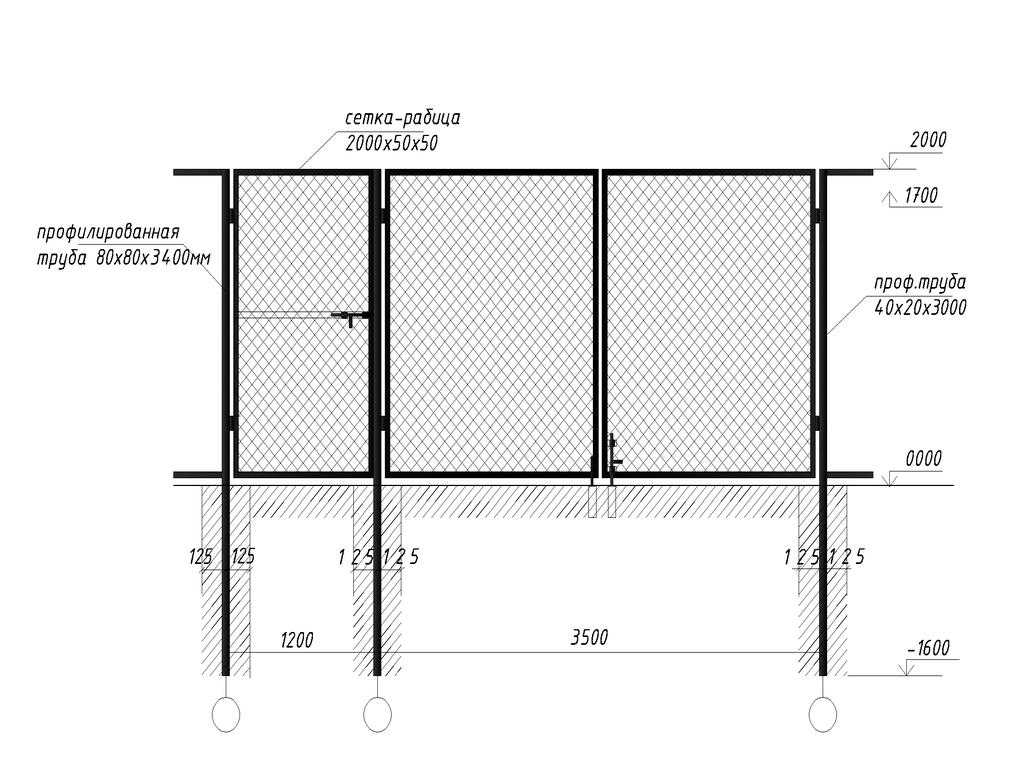 Схема монтажа забора из сетки-рабицы