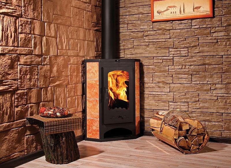 Угловая печь-камин «Бавария» для дачного домика