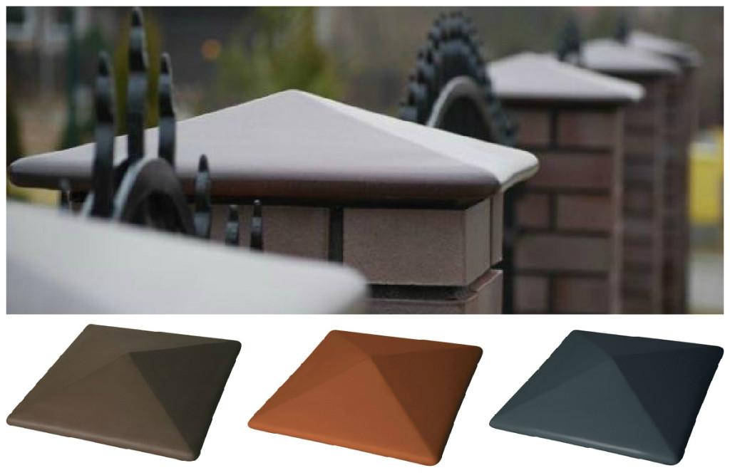 Виды керамических колпаков на столбы забора из кирпича