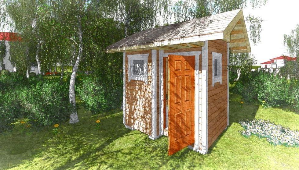 Деревянный душ и туалет для дачи под одной крышей