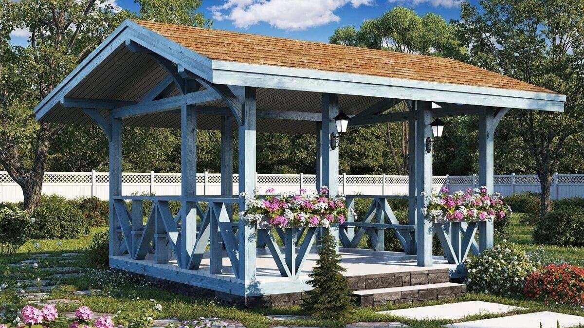 Двухскатная крыша для открытой деревянной беседки