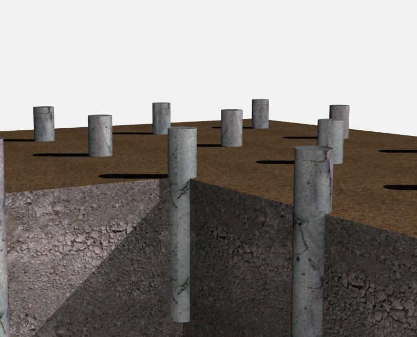 Фундамент из асбестоцементных труб для строительства каркасного дома