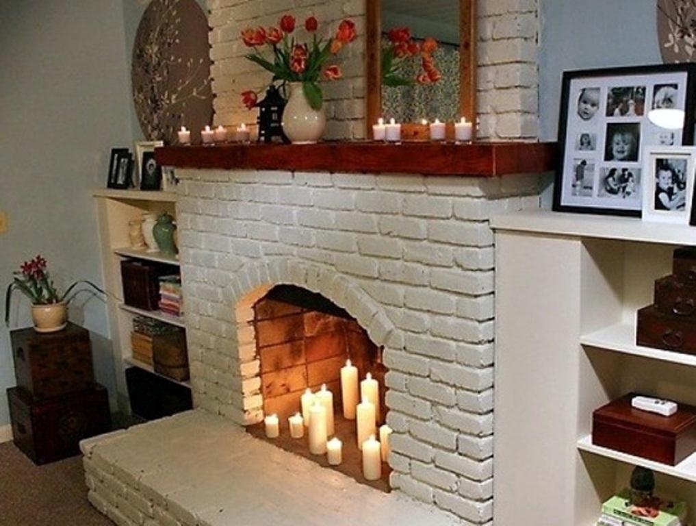 Имитация огня в камине при помощи свечей