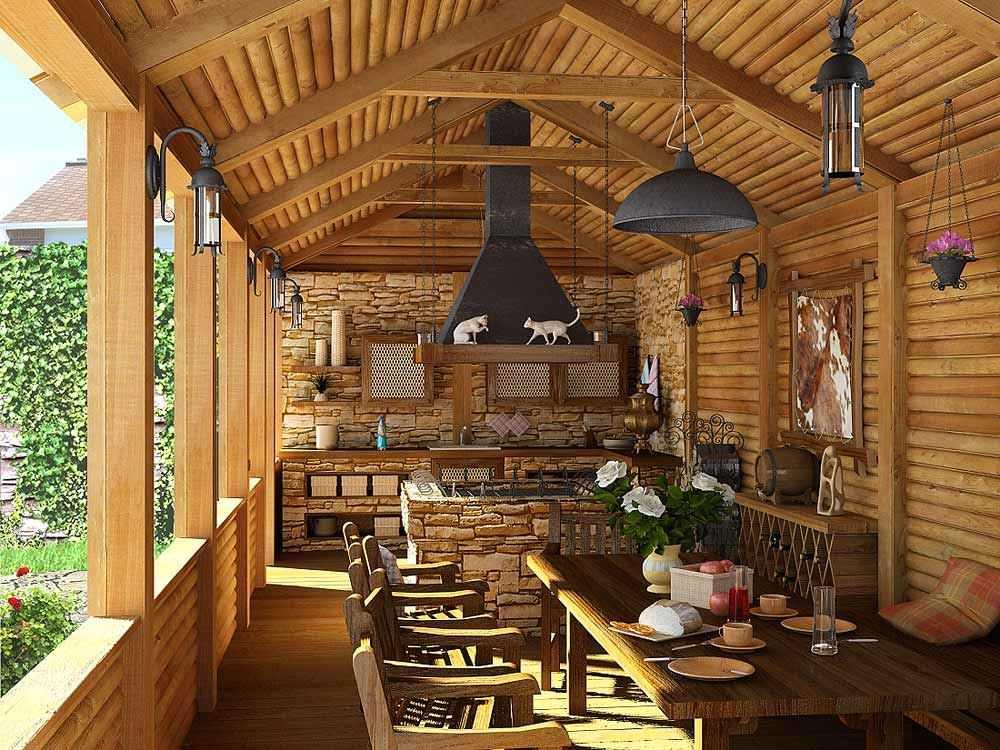 Летняя кухня открытого типа из бревна