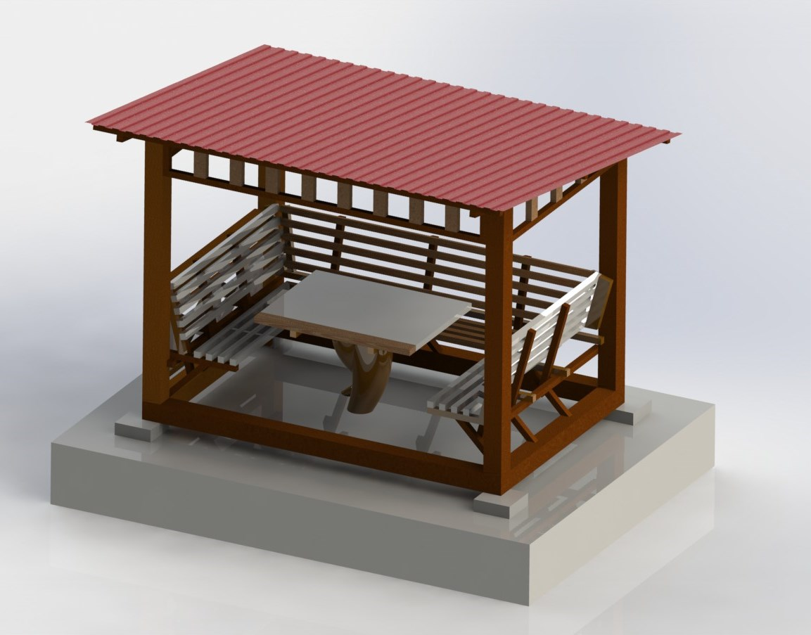 Макет беседки с односкатной крышей