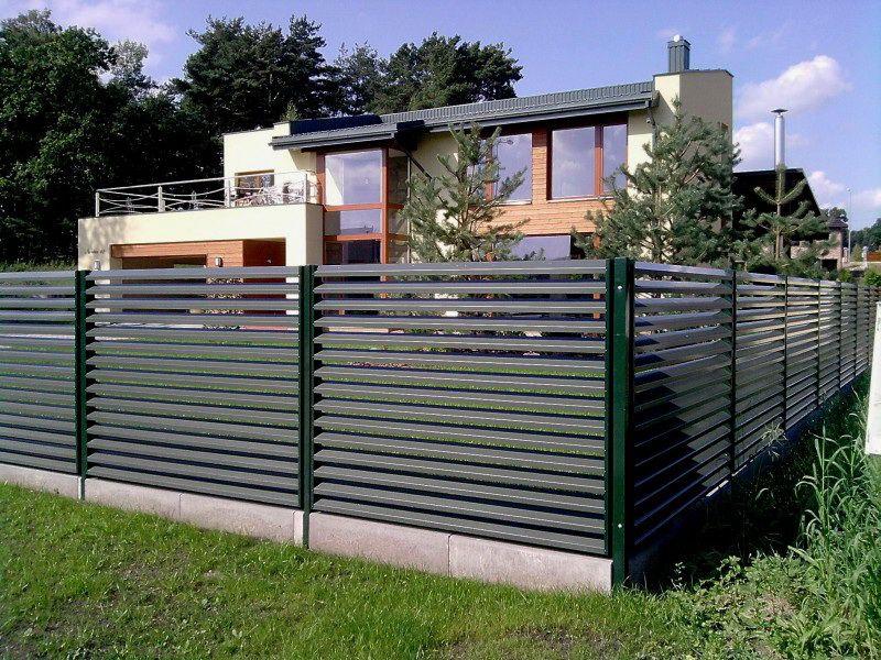 Металлический горизонтальный забор-жалюзи