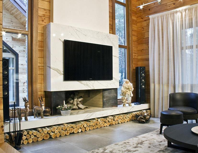 Облицовка дровяного камина мрамором