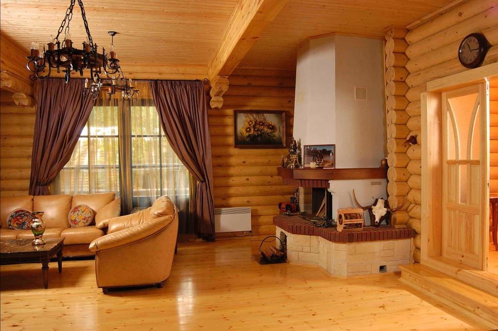 Печь-камин для загородного дома из дерева