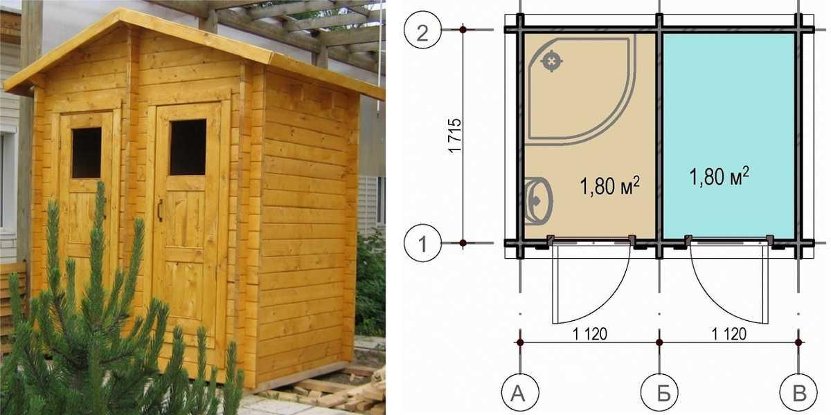 План расположения душа и туалета под одной крышей
