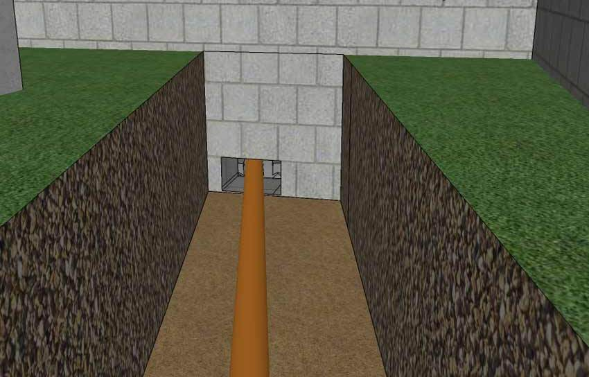 Проходное отверстие в фундаменте по канализацию