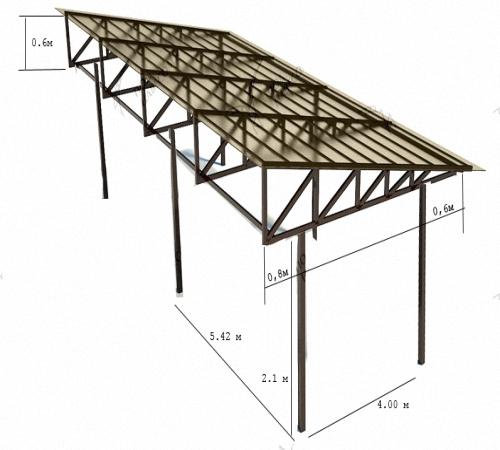 Схема навеса на металлических столбах