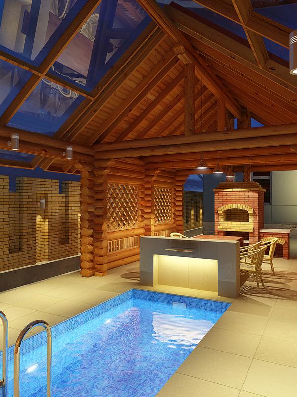 Баня и дом под одной крышей, проект с бассейном