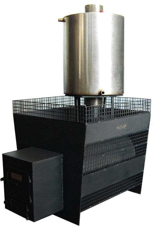 Стальная печь для бани с баком для воды и местом под камни