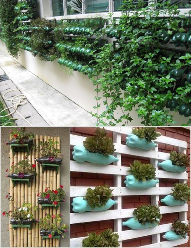 Красивый забор-стеллаж из пластиковых бутылок