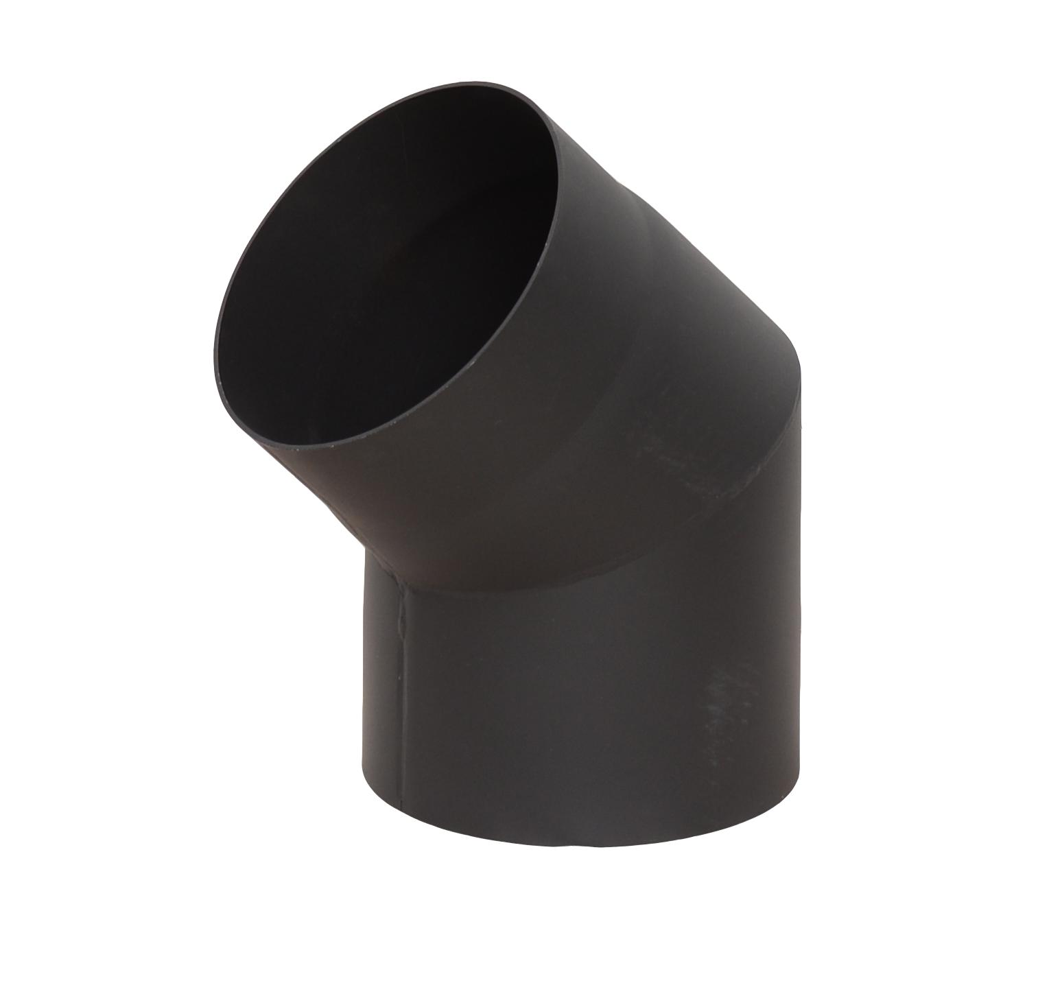 Дымоход из черной стали с изгибом 45 градусов