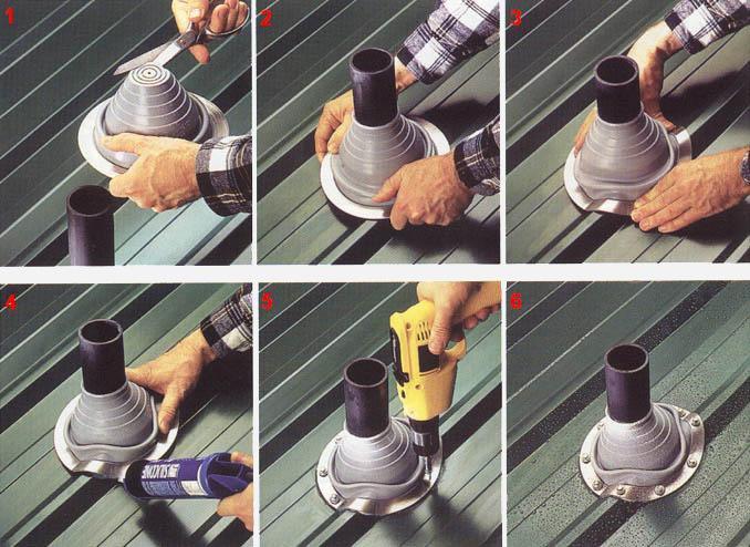 Инструкция, как произвести монтаж кровельного уплотнителя дымохода