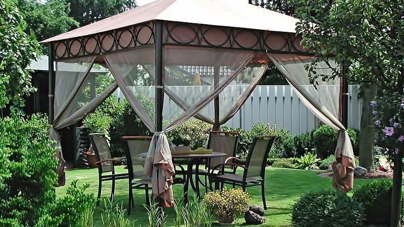Навес беседка для дачи, установка садового шатра