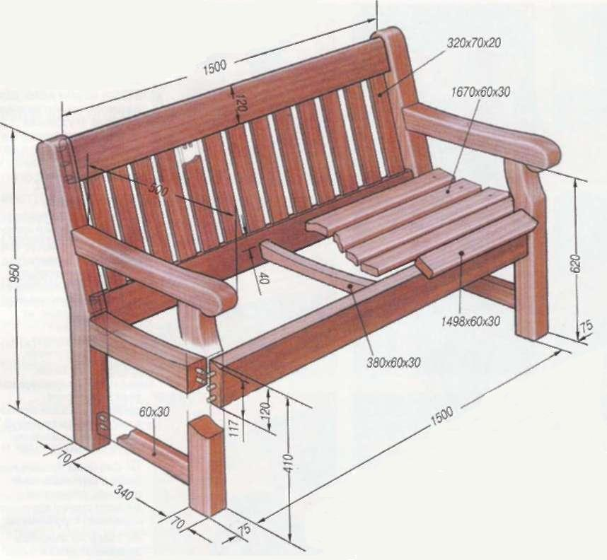 скамейки для беседки, подробная схема конструкции