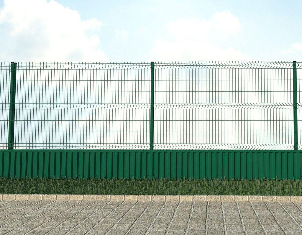 Комбинированный забор из сетки гиттер и профнастила