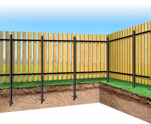 План-схема установки забора из деревянного штакетника