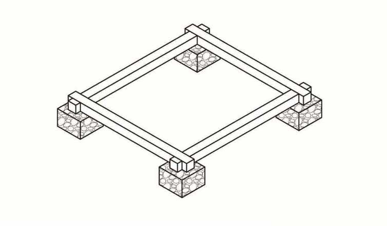Схема столбчатого фундамента для туалета на даче