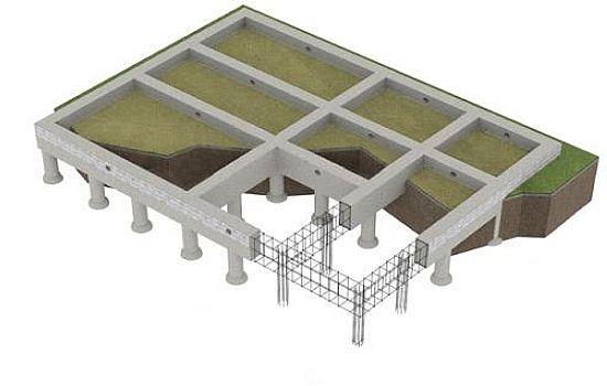 Схема свайно-ленточного фундамента загородного дома
