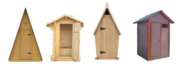 Выбор вида крыши дачного туалета