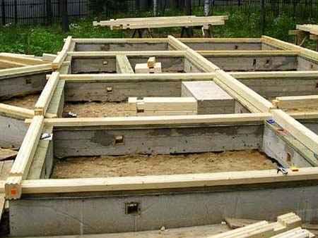 Заливка ленточного фундамента для дачного дома из бруса