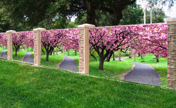 Фотосетка для декора заборов - цветущий сад