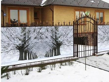 Фотосетка для декора заборов - зимний пейзаж