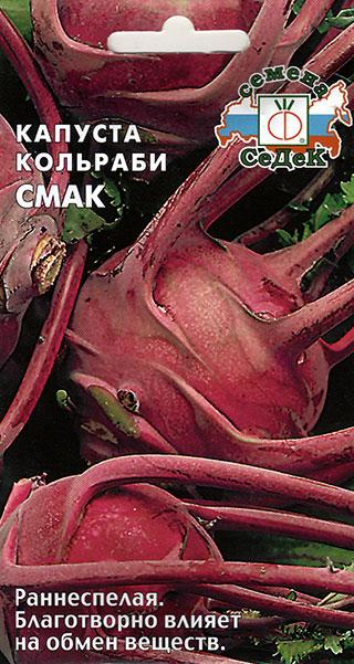 Раннеспелая капуста кольраби сорта Смак с плодом темно-фиолетового цвета