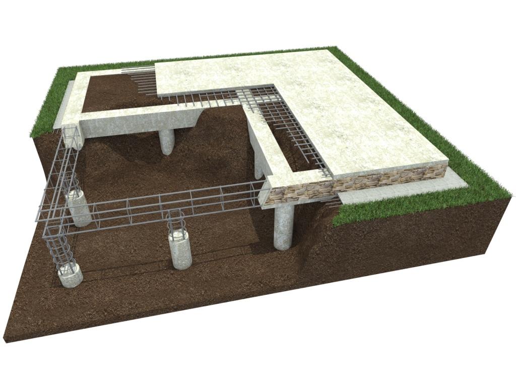 Строительство фундамент частного дома на буронабивных сваях