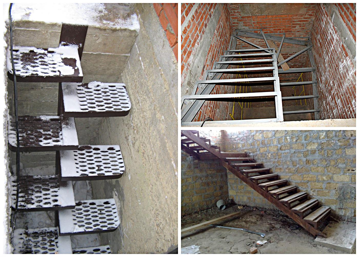 Металлическая лестница в погреб 9
